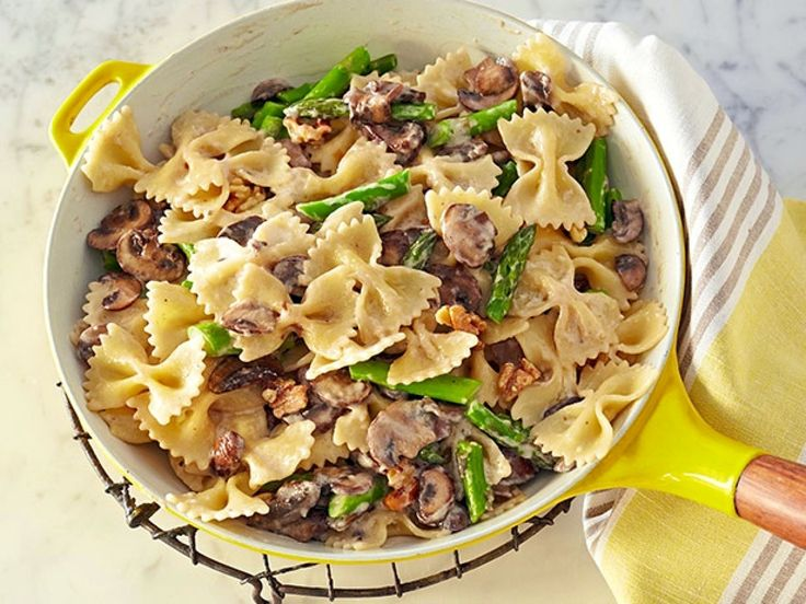 Creamy Farfalle with Cremini, Asparagus and Walnuts recipe from Giada De Laurentiis via Food Network