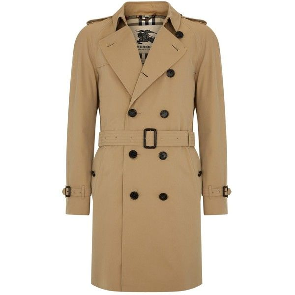 Burberry The Wiltshire Long Heritage Trench Coat ($1,710) ❤ liked on Polyvore featuring men's fashion, men's clothing, men's outerwear, men's coats, mens fur lined coat, burberry mens coat, mens long coat, mens long trench coat and mens trench coat