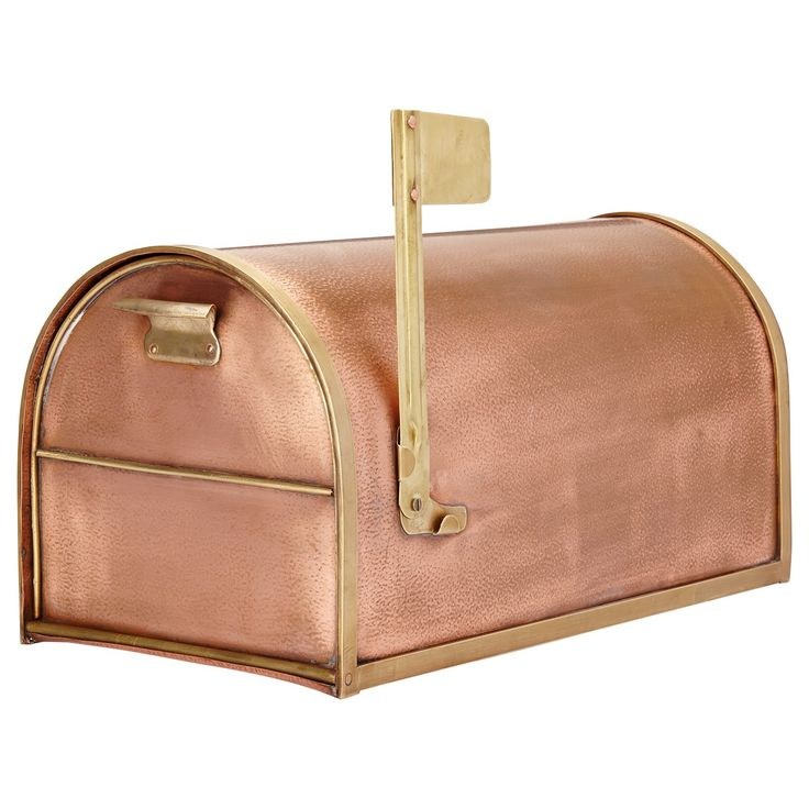 Classic Post Mount Copper Mailbox with Brass Accents - Small
