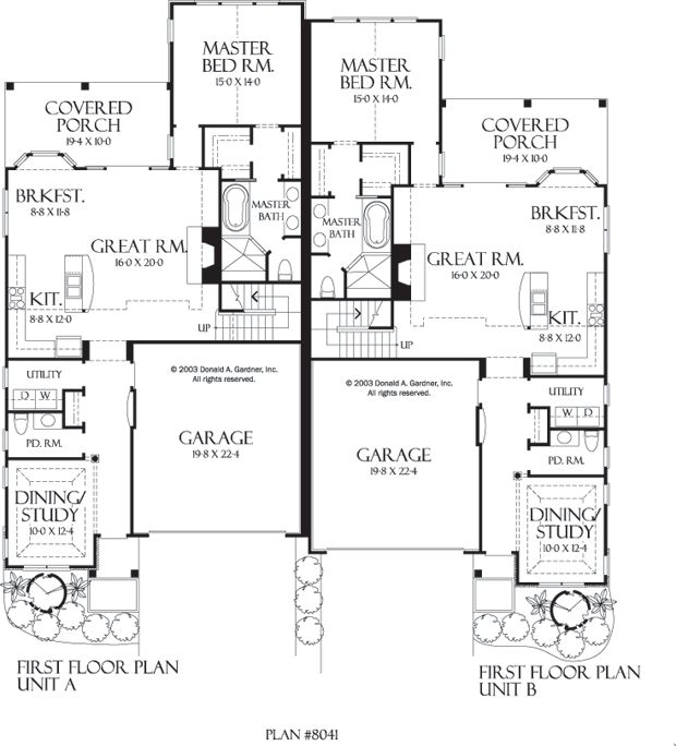 duplex floor plans... love the back, sep decks
