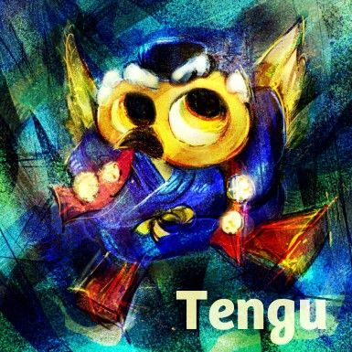 """Tengu Hello! Do you know """"Tengu""""? Tengu is the legendary creature in Japan folk region ! It tells ordinary Tengu has red face , long nose and wearing Kimono of Yamabushi/山伏 !  And he can fry!! Tengu meant """"meteor""""  to tell disaster in China. Tengu is told that a Yamabushi who were arrogant and selfish mind transmigrate as Tengu after he dead !  On the other hand, Tengu treated as God of mountains because people consider mountains to holy world!  So , I become like holy bird  version Tengu!!"""