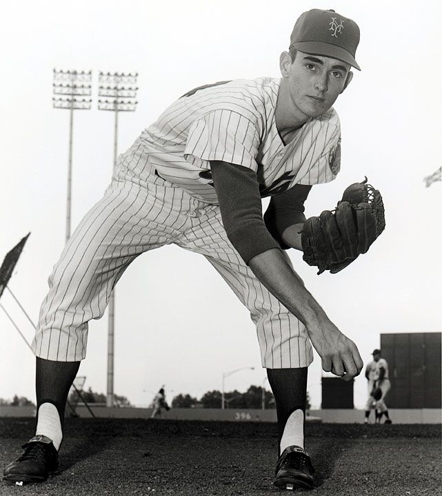 """Lynn Nolan Ryan, Jr. (born on 1/31/47 in Refugio, Texas), nicknamed """"The Ryan Express"""", is a former Major League Baseball pitcher & CEO of the Texas Rangers. During a major league record 27-yr baseball career, he pitched in 1966 and from 1968 to 1993 for 4 different teams: the New York Mets, California Angels, Houston Astros, & Texas Rangers. Ryan is the all-time leader in no-hitters with 7, 3 more than any other pitcher. He was inducted into the Baseball Hall of Fame in 1999."""