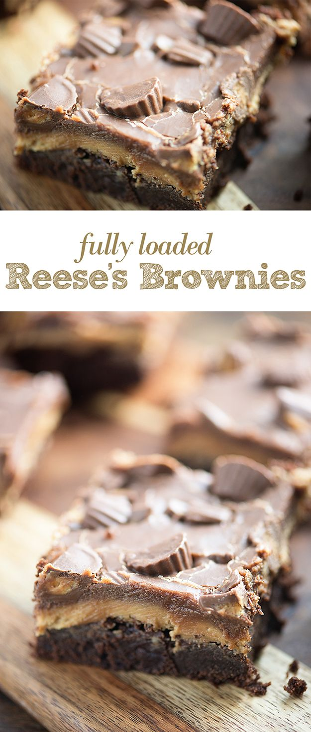 Fully Loaded Reese's Brownies | Buns In My Oven | These thick, fudgy brownies are topped with a thick peanut butter frosting, extra chocolate, and some Reese's candies. They're a peanut butter lovers favorite brownie!
