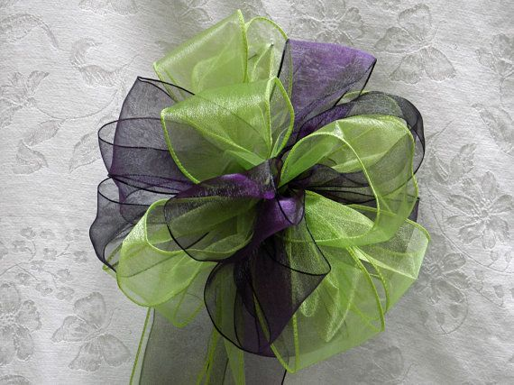 Eggplant Purple and Lime Green Bow