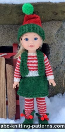 Santa's Elf Outfit for 14 inch Dolls