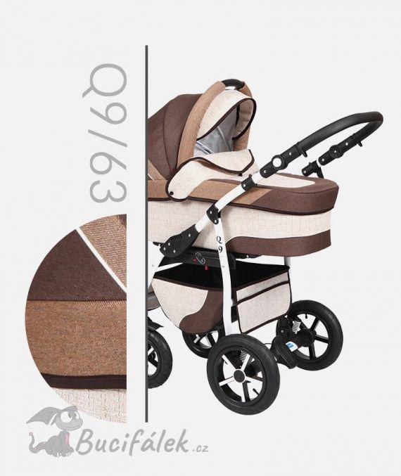 Kombinovaný kočárek Baby Merc model Q9 hnědá s béžovou. Kočárek je kombinovaný se sportovní sedačkou ve stejném barevném provedení.