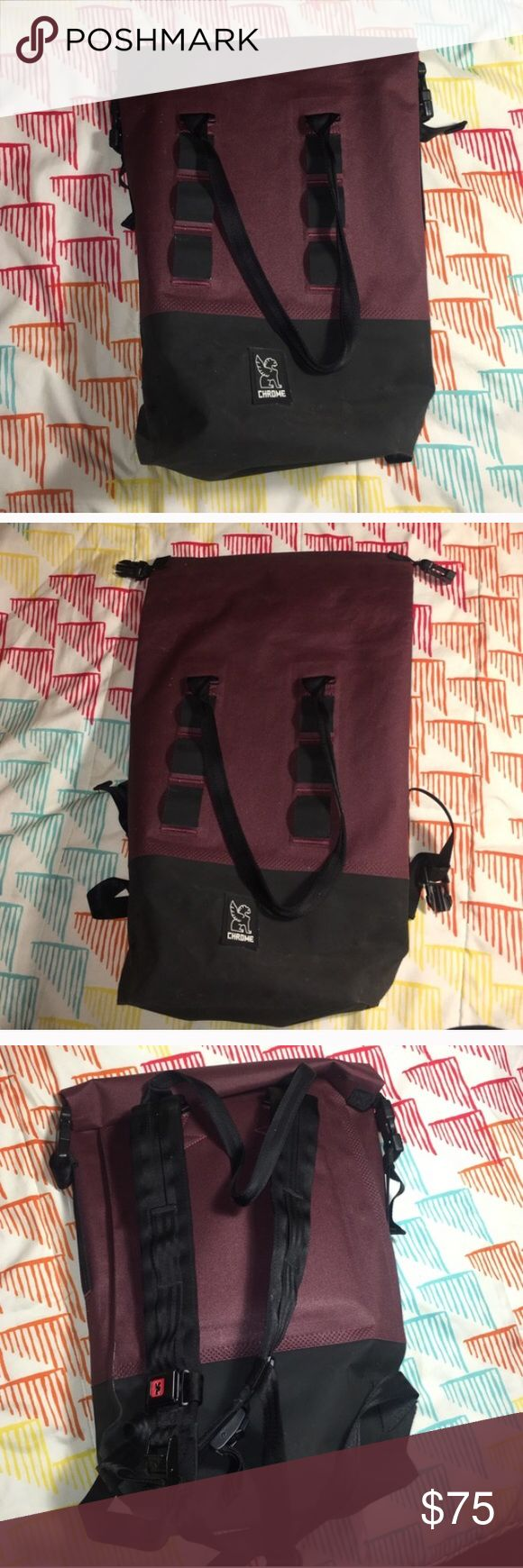 Chrome roll top backpack In good condition! Has buckle for extra support. Very comfortable and structured. Weatherproof, great for bike riders. Colors are black and maroon. Chrome Bags Backpacks