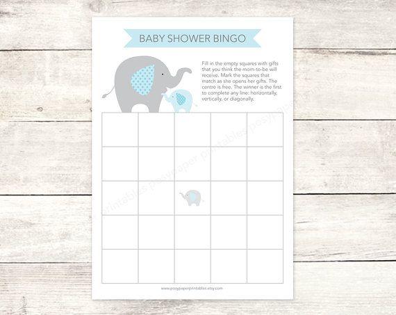 Baby Shower Bingo Game Card Printable DIY Elephants Blue Grey Cute Baby Boy  Digital Shower Games