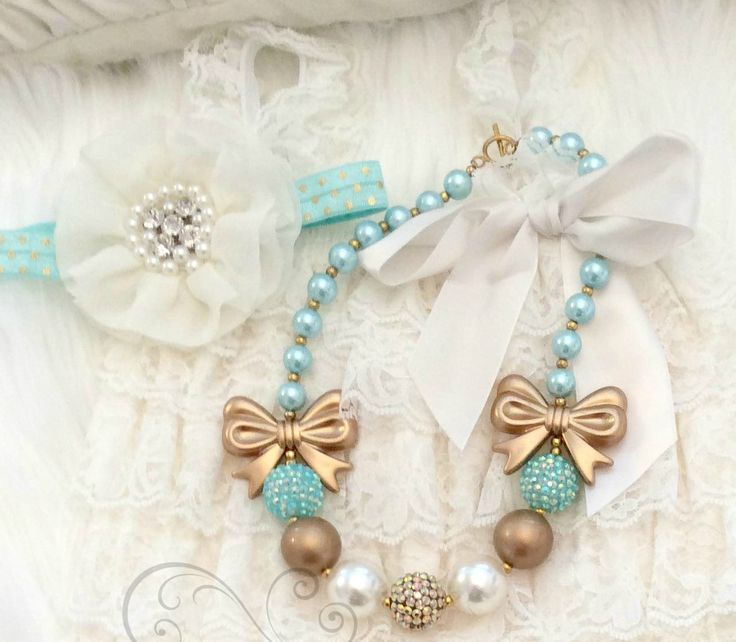 Aqua & Gold Bow Bubble Gum Kids/Baby Necklace