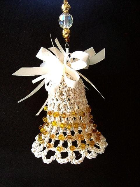 Crochet bell christmas ornament free pattern and how to
