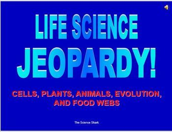 This Life Science Jeopardy game contains the following categories: Cells Plants Animals Evolution Food Webs It has a game page so students can select a category and corresponding points. It has two daily doubles. THIS POWEPOINT GAME IS EDITABLE - FEEL FREE TO EDIT QUESTIONS/ANSWERS. _________________________________________________