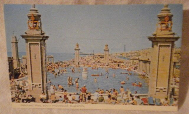 Post Card 1970s Paddling Pool, South Promenade Blackpool England