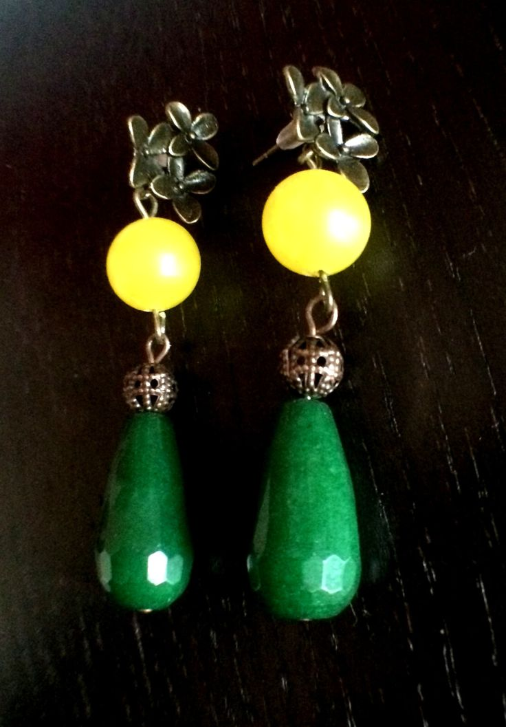 Classic Bronze /Copper Jade Earring by Theshobs on Etsy