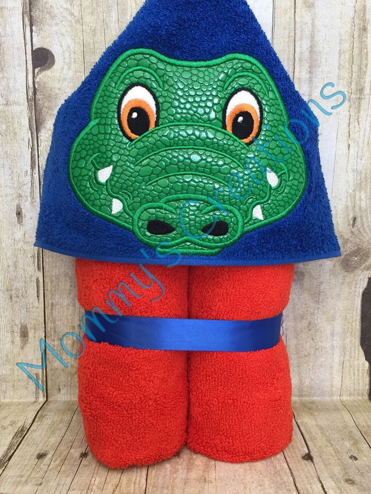 """Alligator Boy Applique Hooded Bath, Beach Towel, Cover Up 30"""" x 54"""" by MommysCraftCreations on Etsy"""
