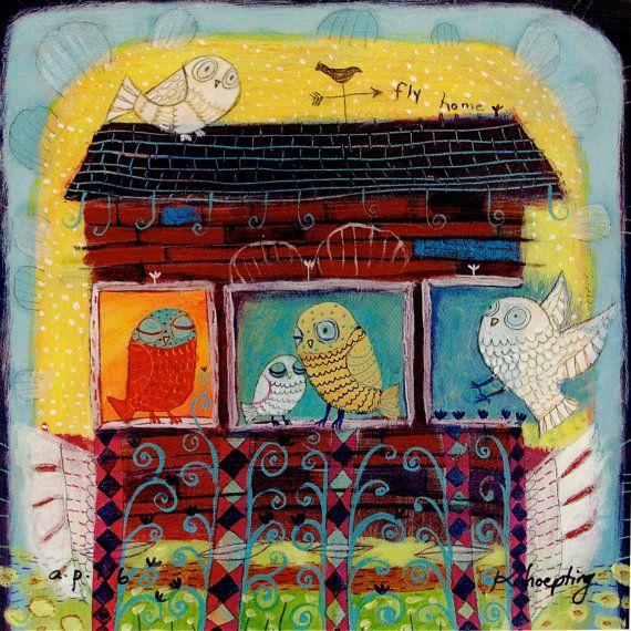 Сова семьи Печать - ограниченным тиражом жикле на холсте / маленький - причудливое искусство / детский декор / Детские Декор