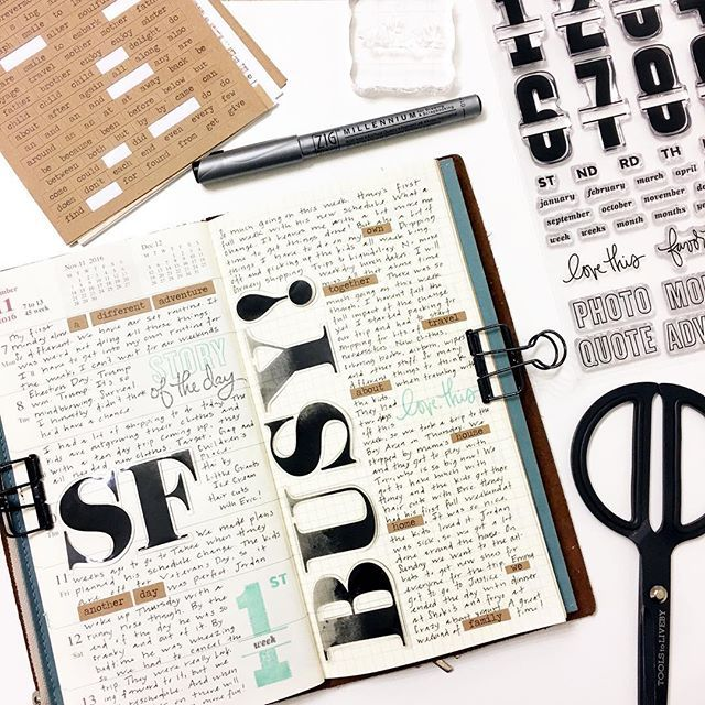 Week 45 in my traveler's notebook.  Loving the new @studio_calico stamp subscription!  A lot of uses for this set!