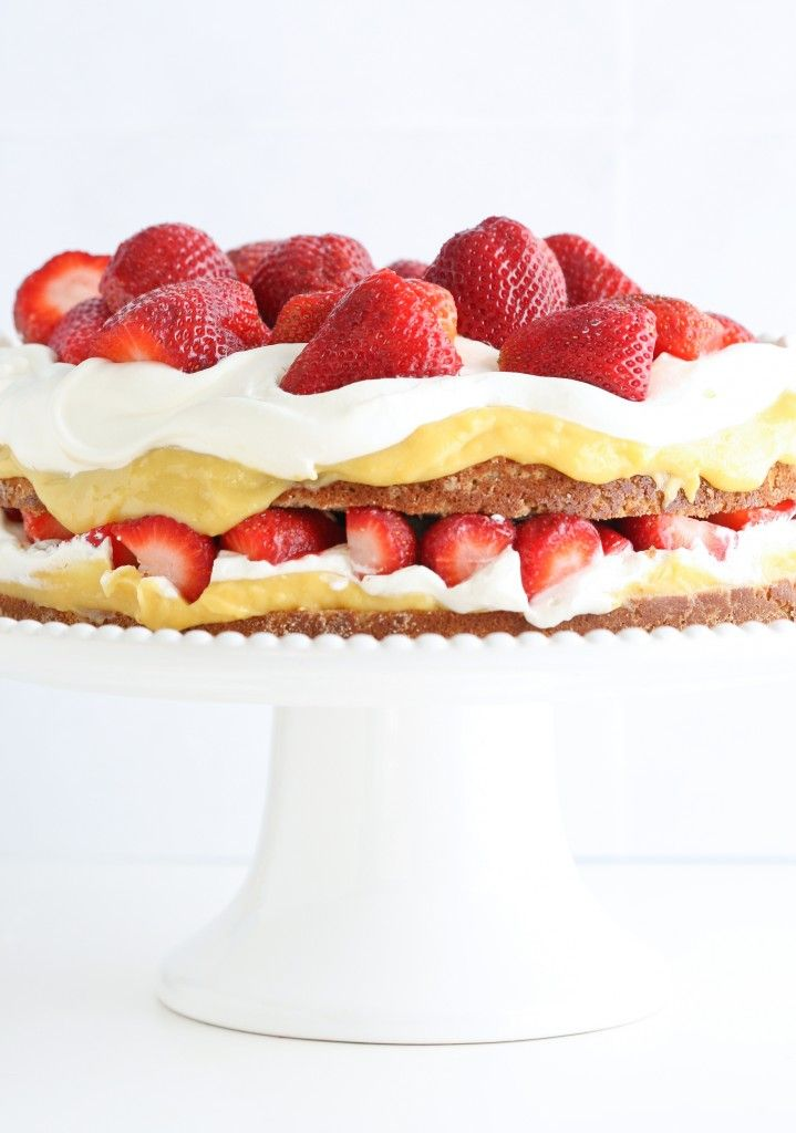 Grain Free Coconut Cake with Lemon Curd, Strawberries and Whipped Cream #justeatrealfood #deliciouslyorganic