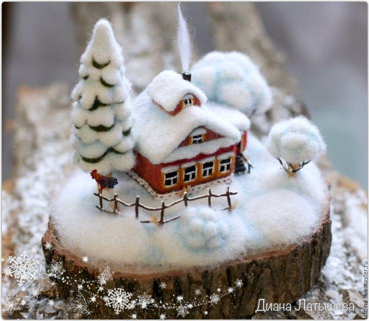 """Купить Войлочная миниатюра. Родина ЗИМА """"Утро зимнее"""" - дом, домик, деревня, родина"""