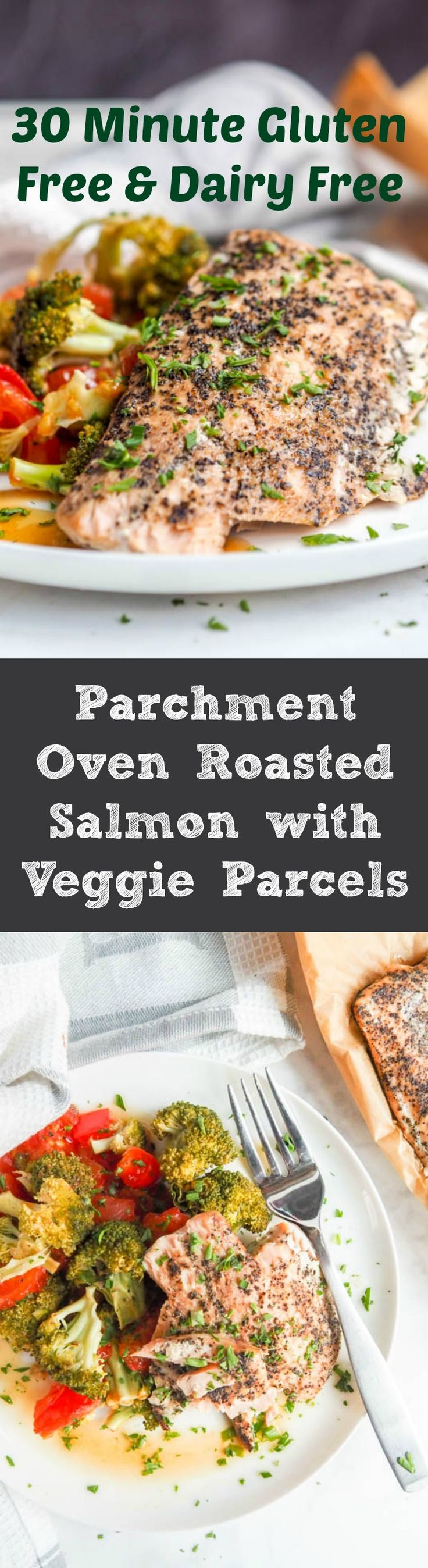 Dinner doesn't get simpler than parchment packet oven roasted salmon served with broccoli, red pepper and tomato parcels. Gluten-Free, Dairy-Free, High Protein and Low Carb. A healthy dinner with minimal prep for those busy night. | avocadopesto.com