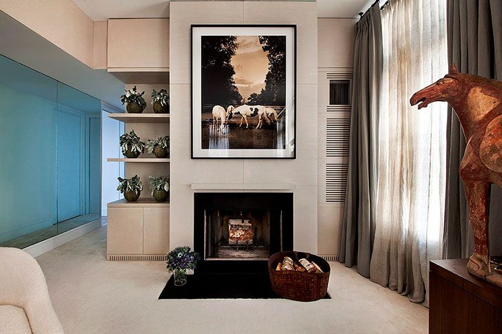 Beautiful fireplace in bedroom #bedroom #design #idea #fireplace #frame #photo #interior #elegant #new #york