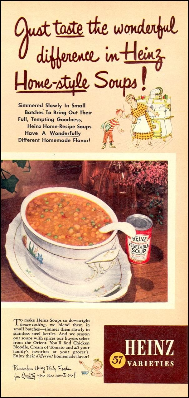 heinz home-style soups   woman's day   1 october 1949