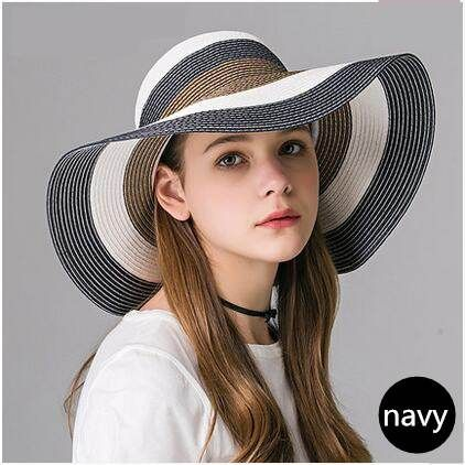 Color block straw hat for women wide brim sun hats summer wear