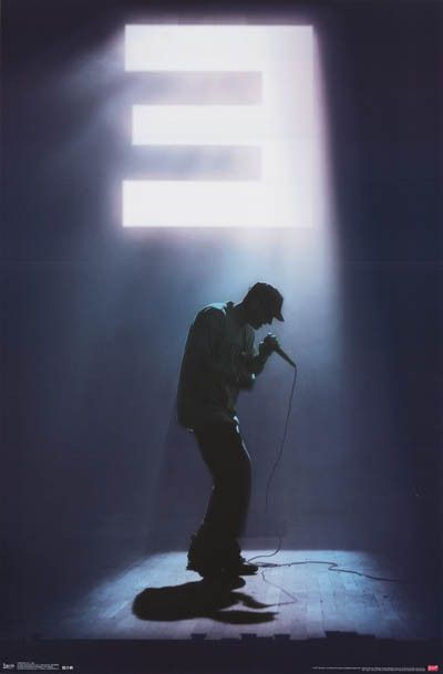The spotlight shines brightly on Eminem and casts a shadow that can only be the Slim Shady! An awesome poster for any fan. Fully licensed. Ships fast. 22x34 inches. Check out the rest of our awesome s