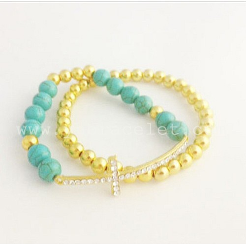 $14.99 Turquoise Sideways Cross Bracelet set