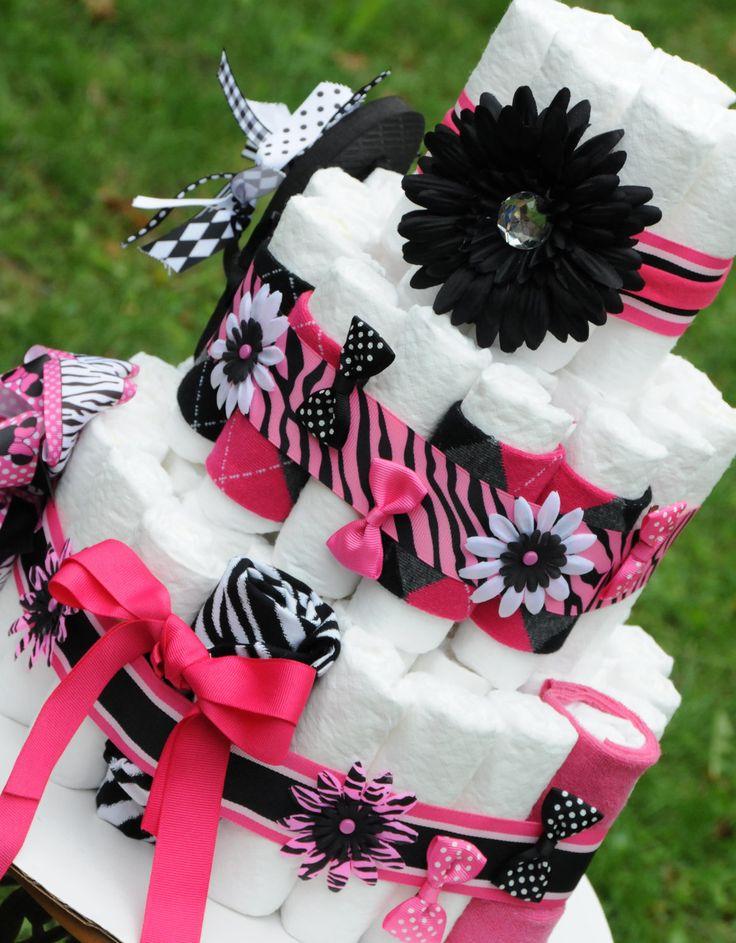 Diaper Cake Girls Baby Shower Gift....LOVE IT...BOWS!