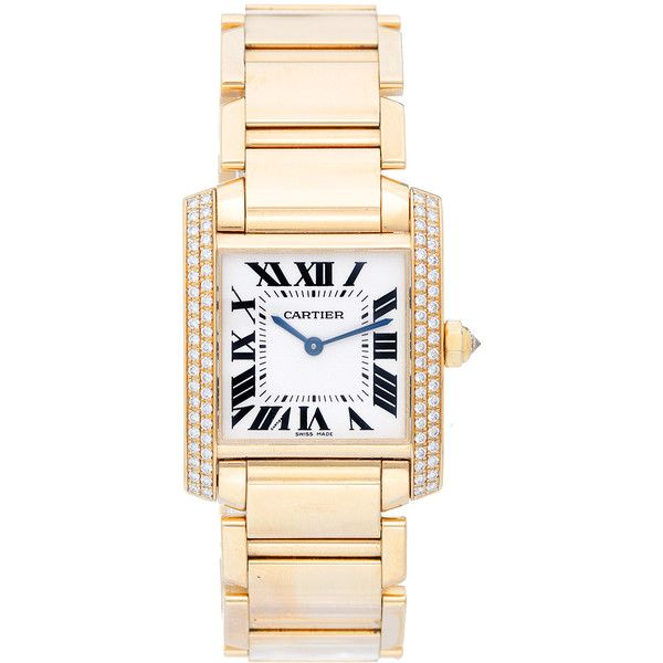 Pre-Owned Cartier Tank Francaise Midsize 18k Yellow Gold Watch (61,625 SAR) ❤ liked on Polyvore featuring jewelry, watches, gold, cartier watches, colorful watches, dial watches, ivory jewelry and gold wrist watch