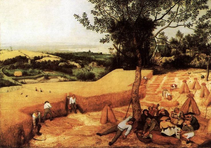 The Harvesters Artist: Pieter Brueghel the Elder 1565, Oil on wood Location	Lobkowicz Palace at Prague Castle, Prague  Images in artwork link agricultural practices throughout its evolution in time. We can see what tools are being used by the harvesters, as well as the way they tie their grain bails. We can also see how the peasants took breaks from their work. Essential Question: What does it teach the viewer about that region of the world?