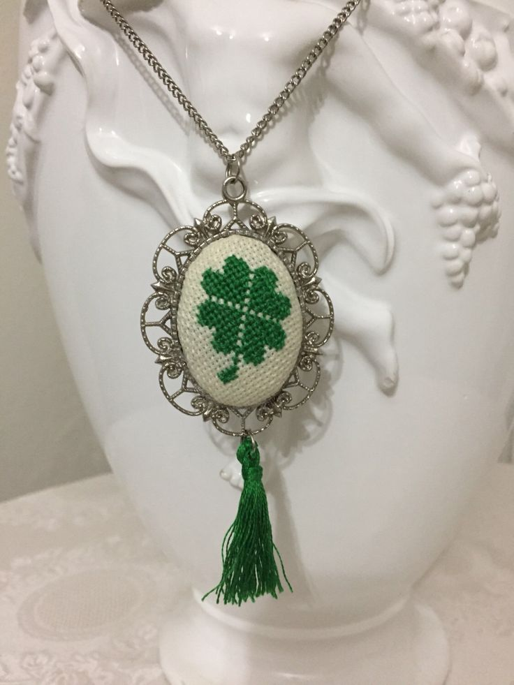 Four-Leaf Clover Crosstitch Necklace, Crosstitch pendant, Crosstitch Jewel, Pendant Necklace, Xstitch Necklace, Embroidered Necklace by Calimerodesign on Etsy https://www.etsy.com/listing/486278823/four-leaf-clover-crosstitch-necklace