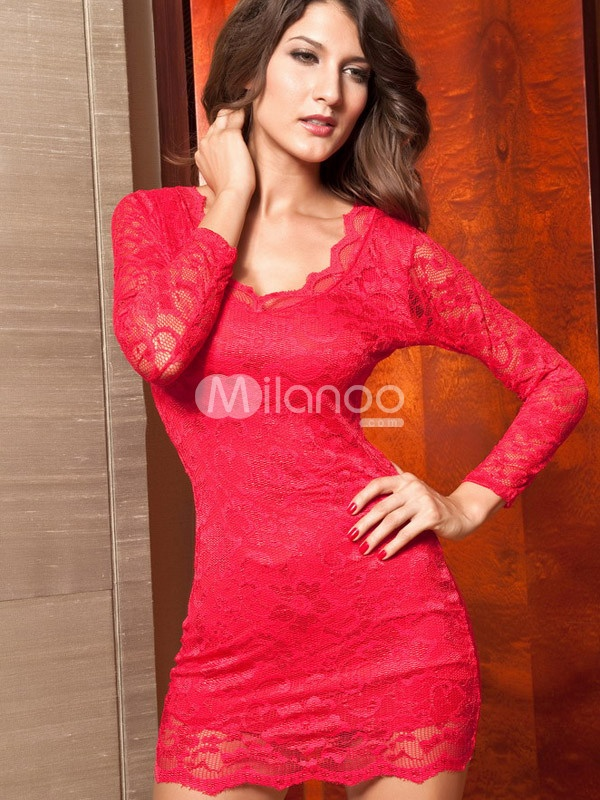 Red Long Sleeves Floral Jewel Neck Polyester Club Dress