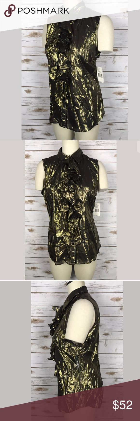 Lauren Ralph Lauren Rare Silk Metallic Blouse Sz12 Very good conditions as shown in the pictures.  No stains or damage. Carefully inspect all pictures as they are a major part of the description and condition.                                I try my best to describe my items in detail. Please ask any questions prior to purchase. Questions are usually answered the same day for your convenience.   Items are stored in a pet and smoke free environment.   Thanks for shopping in my store…