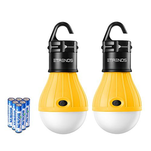 2 Pack E-TRENDS Portable LED Lantern Tent Light Bulb for Camping Hiking Fishing Emergency Light Battery Powered Camping Lamp with 6 AAA Batteries