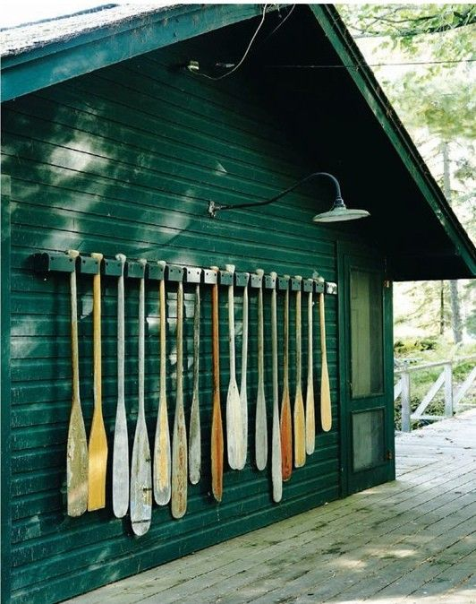 Ready for some paddling at the lake retreat, better to hang paddles than throw them on the ground!