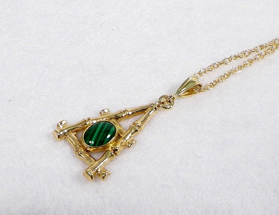 14K Yellow Gold Malachite Bamboo Styled Pendant on 16 inch 14K Gold Rope Chain, $690.00