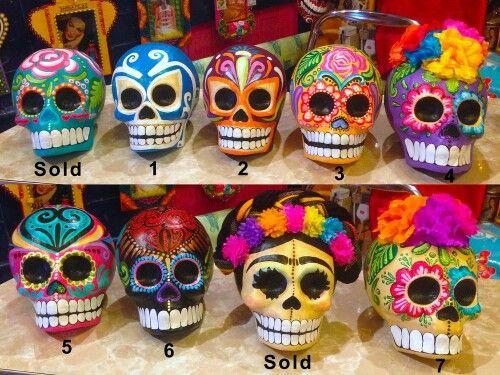 paper mache Dia de los Muertos skulls