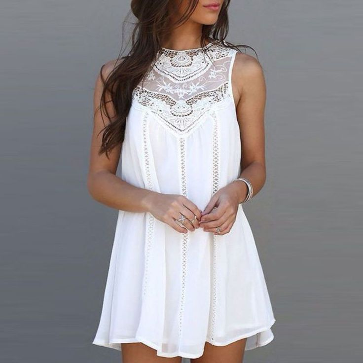 Summer Casual Sleeveless Lace Patchwork - Mini Sundress White