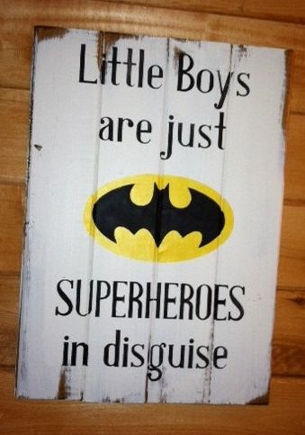 "Gifts for Baby:  ""Little Boys Are Just Superheroes in Disguise"" 14"" x 16"" Hand Painted Sign with Batman Symbol by Ott Creatives @ Etsy"