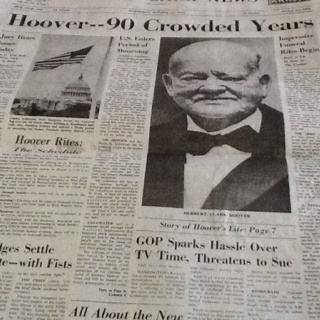 From the Chicago Daily News 10/21/1964: former President Herbert Hoover dies at the age of 90.