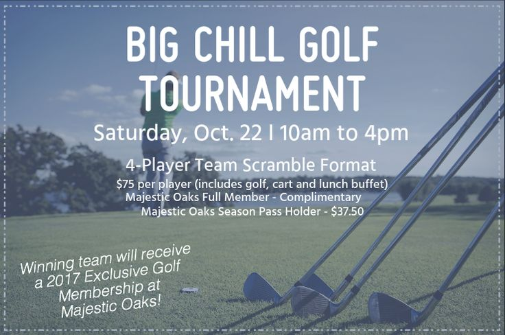 With the cold weather quickly approaching, take advantage of our annual Big Chill Golf Tournament and buffet! Featuring a four-player team scramble format, each member of the winning team will be awarded a 2017 Exclusive Golf Membership for Majestic Oaks. Plus, an optional skins game will be offered. To register, visit our ProShop or call 262.725.9200.  #golf #midwestgolf #greatoutdoors #lakelawnresort #majesticoaks