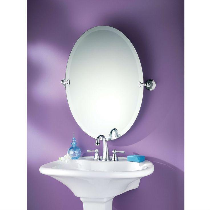 28 inch chrome finish oval tilting bathroom vanity mirror - Wall mounted tilting bathroom mirrors ...