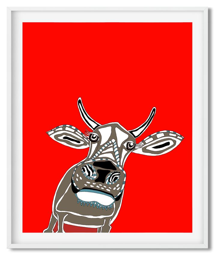 """COW   ILLUSTRATION   POSTER   RED - This charming Cow on Red illustration makes a great addition to a nursery or child's bedroom or bathroom. The hand-drawn illustration was originally created by Katherine Mariaca-Sullivan for her picture book, """"If You Were a Critter."""" Available as 11 x 14, 18 x 24 and 24 x 36. Professionally printed with top quality inks on beautiful, heavyweight matte stock paper. Pin this one now!"""