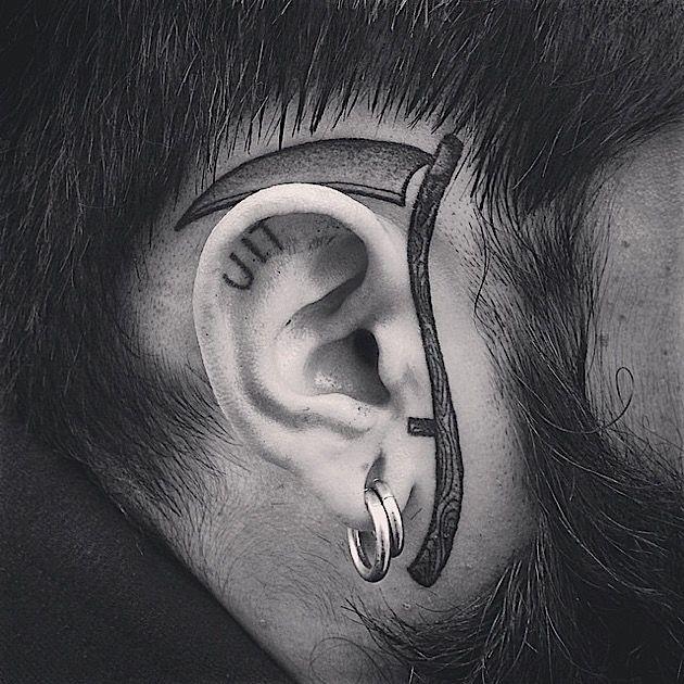 Blackwork scythe tattoo by MXW TATTOO