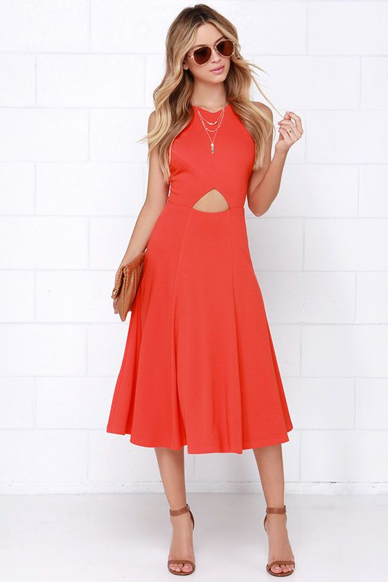 Drops of Jupiter Orange Midi Dress at Lulus.com!