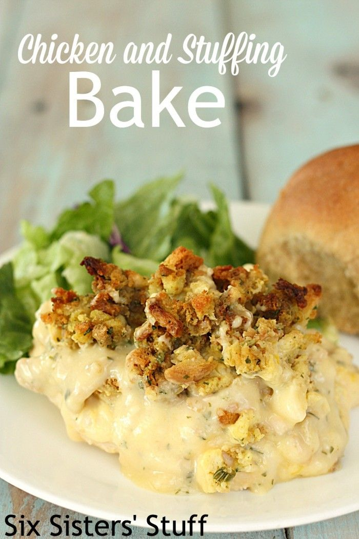 Chicken and Stuffing Bake Recipe ~ Six Sisters Stuff {Top each chicken breast with your favorite slice of cheese prior to putting soup mix on; prepare stuffing mix before spreading on soup mix}