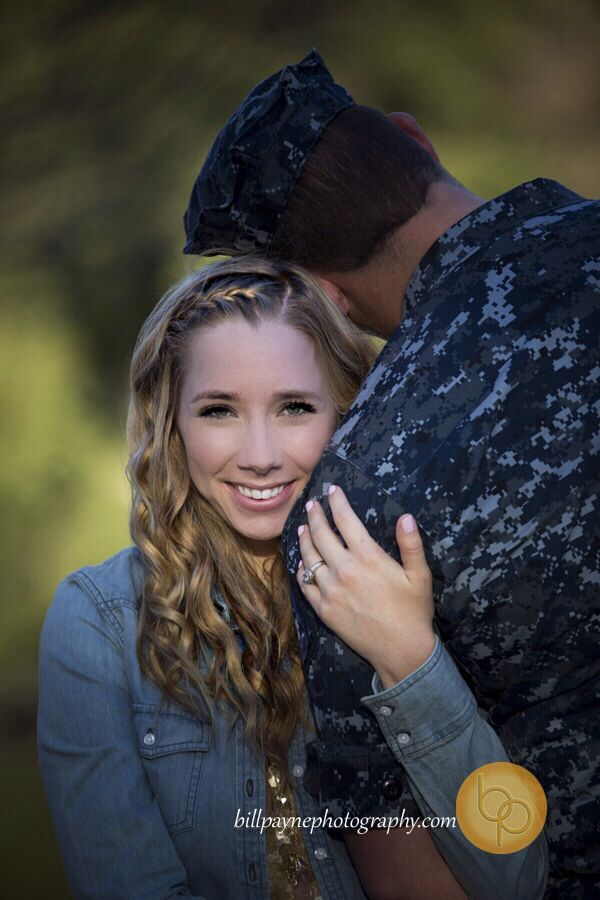 Engagement, country, vintage, military, couple, cute