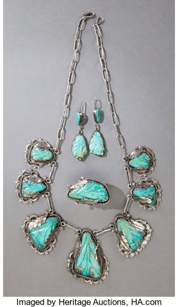 American Indian Art:Jewelry and Silverwork, A ZUNI SILVER AND TURQUOISE JEWELRY SUITE. Dan Simplicio. c.1950... (Total: 4 Items)