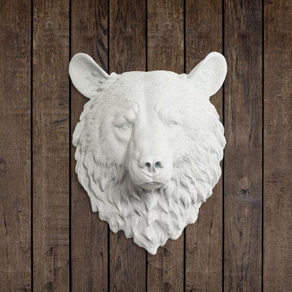 the kodiak in white faux bear head mounted fauxidermy fake ceramic animal taxidermy. Black Bedroom Furniture Sets. Home Design Ideas